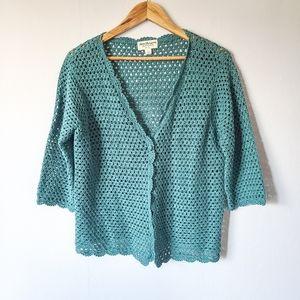 Linen Blend Norm Thomson Crocheted Cardigan L